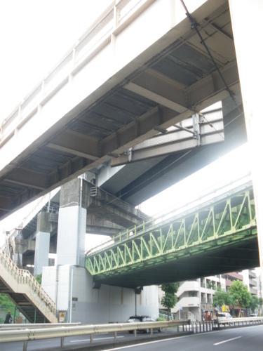 環7馬込から歩道橋・新幹線・東海道線のトリプル橋裏